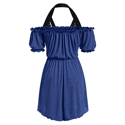 LSAltd Fashion Women Vintage Solid Color Tube Tops Cold Shoulder Pleated Halter Mini Dress Cosplay Costume Pleated Faux Wrap