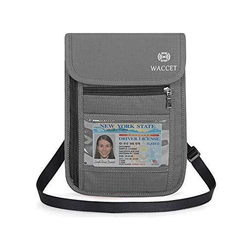 Portadocumenti da Collo, WACCET Marsupio da viaggio Blocco RFID per Uomo e Donna, Portapassaporto da Viaggio Impermeabile Portafoglio da Сollo per Passaporto e Carte di Credito (Grigio)