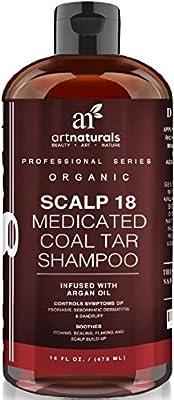 ArtNaturals Therapeutic Argan Anti-Dandruff Shampoo - Natural and Organic Coal Tar with Argan Oil Formula - Scalp18 Treatment Helps Anti-Itchy Scalp, Clear Symptoms of Psoriasis, Eczema - Sulfate Free, 473 ml.
