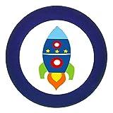 Türknauf 'Rakete' dunkelblau Holz Buche Kinder Kinderzimmer 1 Stück Fahrzeuge Transportfahrzeuge Traum Kind