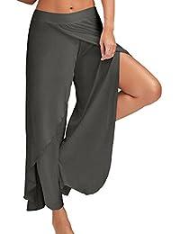 bcc997776069 Youthny Femme Ete Causal Couleur Unie Yoga Pantalon Large Fluide Longue