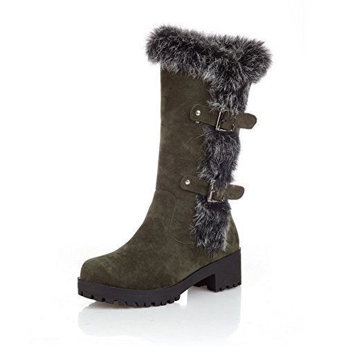 1to9-ladies-buckle-pull-on-european-style-army-green-frosted-boots-6-uk