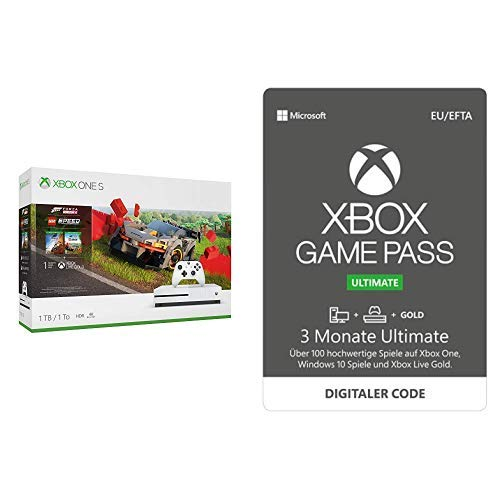 Microsoft Xbox One S 1TB - Forza Horizon 4 LEGO Speed Champions Bundle + 3 Monate Mitgliedschaft | Xbox Game Pass Ultimate [Download Code]