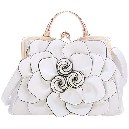 TIFIY Damen Rucksack Damenmode Umhängetasche Rose Lady Handtasche Kosmetiktasche Arbeits Täglich Bankett Elegant Tasche(Weiß) -