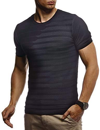 LEIF NELSON Herren Sommer T-Shirt Rundhals Ausschnitt Slim Fit aus Feinstrick | Cooles Basic Männer T-Shirt Crew Neck | Jungen Kurzarmshirt O-Neck Sweater Shirt Kurzarm Lang | LN7300 Schwarz Large