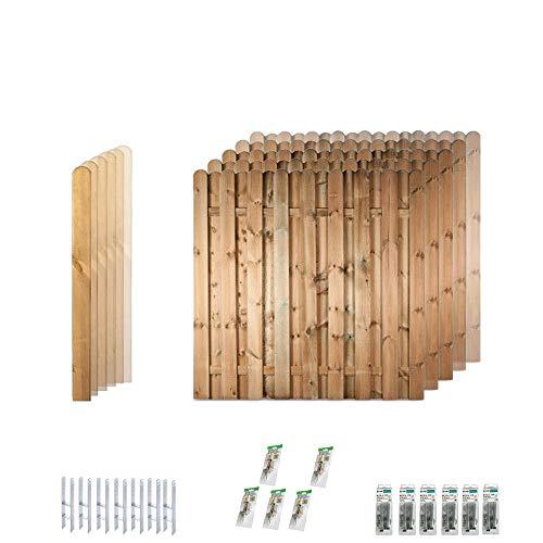 """Latten-Zaun \""""Bochum\"""" Komplett-Set // 5 Stück Sichtschutz-Zäune (ca. 180 x 180 cm) // ca. 9.5 lfd. Meter // aus Kiefer/Fichte Holz // + 6 HolzPfosten (9 x 9 x 190 cm) mit Rundkopf + Montagematerial"""
