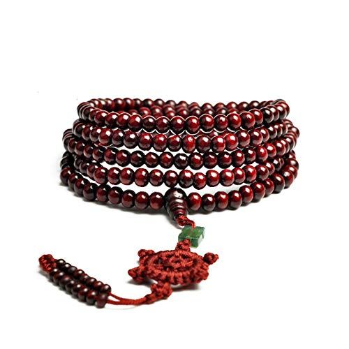 Holz-perlen-trim (HermosaUKnight Auto Interior Trim Red Perlen Holz Buddha Perlen Gear Perlen Valentines Red)