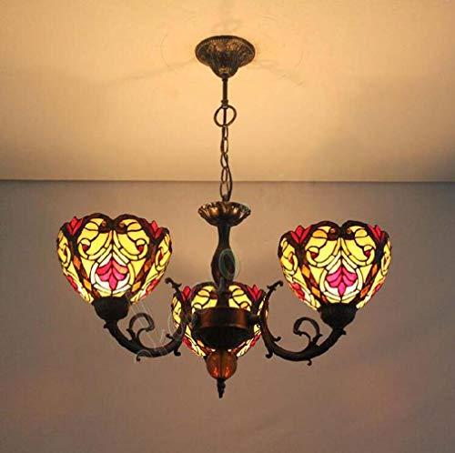 Creative Tiffany Style 3 Arms Kronleuchter, gelbe und rote Glasmalerei Victoria Lampenschirme 8 Zoll invertierte Decke Pendelleuchte, 110-240V / E27 / E26 × 3