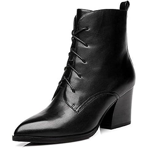 Martin stivali, tacchi alti per il grosso tacchi a punta in pelle inverno ladies tubo scarpe basse , black , 34
