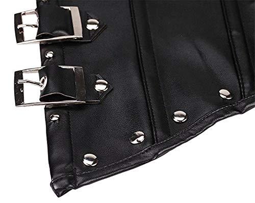 Damen Kunstleder Korsett Bustier Punk Rock Retro Gothic Taille Cincher Basque Übergröße - - Small(Für die Taille 24-25