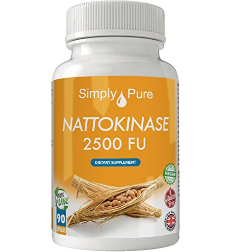 Nattokinase Vegan Capsules x 90,100% Natural, High Strength 500mg, Gluten Free, Exclusive to Amazon, Simply Pure, Moneyback Guarantee. Test