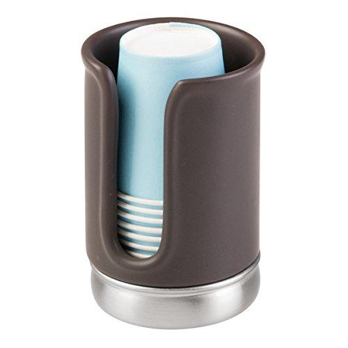 mDesign Pappbecher-Spender für Zahnputzbecher - Halter ohne Bohren zu müssen einsatzbereit - Zahnputzbecher-Set für das Badezimmer - Becherhalter für die Gebrauch von Mundspülungen