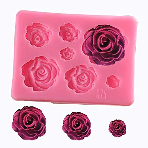 EUYOUZI Roses Resin Fondant Candy Silicone Mold for Sugarcraft, Cake Decoration, Cupcake Topper, Chocolate, Butter, Jewelry, Polymer Clay, Soap Making (Pink)