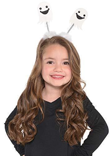 Mädchen Kinder Spaß Hübsch Weiß Ghost Flauschig Kopf Bommel Stirnband Haarband Halloween Kostüm Kleid Outfit Zubehör