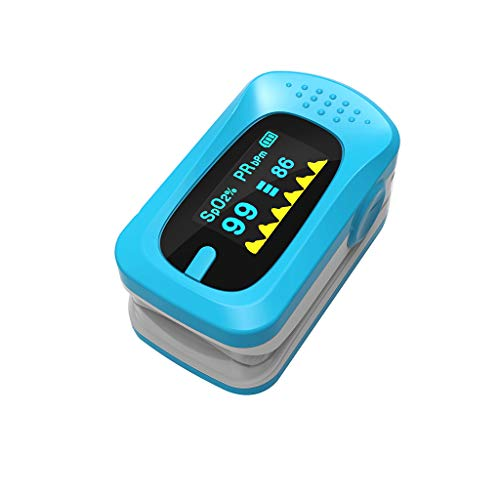 OLED Saturation Finger Clip Tragbarer Pulsoximetrie-Monitor Herzfrequenz Finger Herzfrequenzerkennung Schlaferkennung Hängen Sie EIN Seil,Blue -