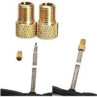 QHJ Tapones de válvula para bicicleta, 2unidades, latón adaptador convertidor Presta a Schrader Válvula de Bicicleta Bike Pump connector, dorado
