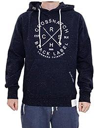New Mens Crosshatch Brand Printed Pullover Hoodie Fleck Effect Sweatshirt Top