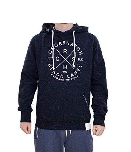 Men Crosshatch Fizzy Pullover Hoodie Navy X Large