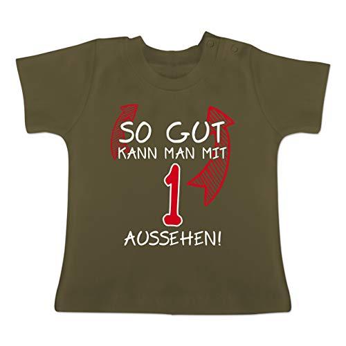 Geburtstag Baby - So gut kann Man mit 1 Aussehen - 12-18 Monate - Olivgrün - BZ02 - Baby T-Shirt Kurzarm (Jahr Weihnachten Geschenke Zu Alt, 8)