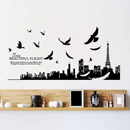 Wandaufkleber Der Eiffelturm Muster Liebe Schöne Flug Buchstaben Wandkunst Aufkleber Wohnzimmer Wohnkultur Pvc Poster Diy Aufkleber