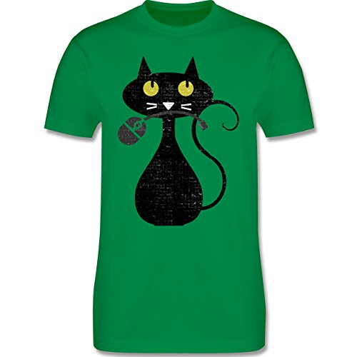 Nerds & Geeks - Hungry Cat Vintage - Herren Premium T-Shirt Grün