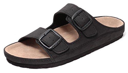 Zapato Herren Pantolette Sandale Slipper Clog mit Echt Leder Tieffußbett Schwarz Gr.41-45 (43)