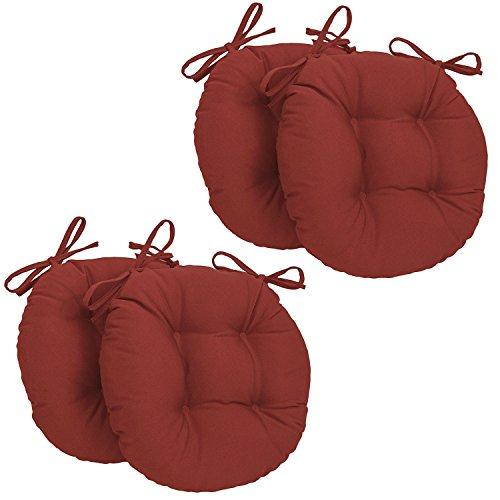 Corredocasa - set x4 cuscini per sedia rotondi con lacci made in italy - diametro 35 cm - rosso