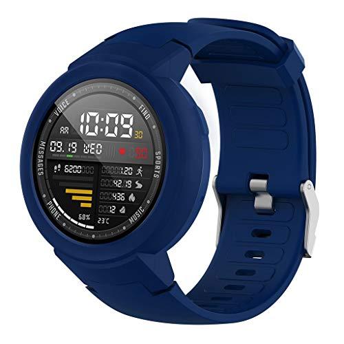 WAOTIER für Xiaomi Huami Amazfit Verge Youth Watch Armband Silikon Armband mit TPU Schutzhülle Gehäuse Armband für Xiaomi Huami Amazfit Verge Youth Watch Wasserdicht Atmungsaktiv Armband (Dunkelblau)