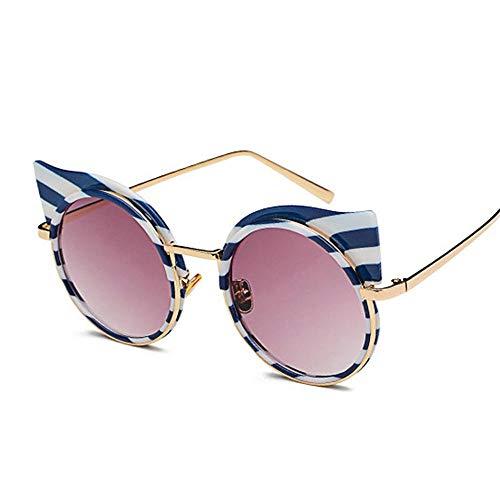 Gy-hhhh occhiali da sole retrò con montatura in metallo zebra femminile - occhiali da sole a righe cat eye - occhiali da sole rotondi casual-viola
