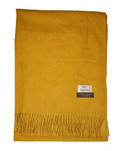 Cashmere nice grande morbido vera lana scialle sciarpa senape