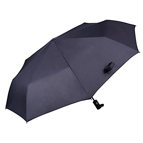 Auto Open &Close Folding Umbrella, SATUBROWN Travel Automatic Black Windproof Compact Rain Umbrellas for Men and Women Lifetime Guarantee