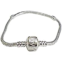 Believe Beads 20CM Silver Plated Charm Bracelet, for slide on slide off charms
