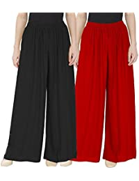 kalpit creations Girls Palazzo Solid Soft Rayon Plain Design with Elastic & Knote in Free Size - 26 Inch's to 38 Inch's / 12 inch Flair (Pack of 2) (Black-red)