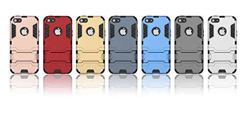 """Nnopbeclik [Coque Iphone SE Silicone / Coque Iphone 5S Silicone / Coque Iphone 5 Silicone] """"Armor Séries Style"""" 2in1 Conception Etui Housse pour Iphone SE Coque Silicone / Iphone 5S Coque Silicone / I rouge"""