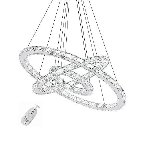 96W LED Crystal Design Suspension Lampe Dimmable Plafonnier Lustre Créatif Trois anneaux(72W Dimmable)