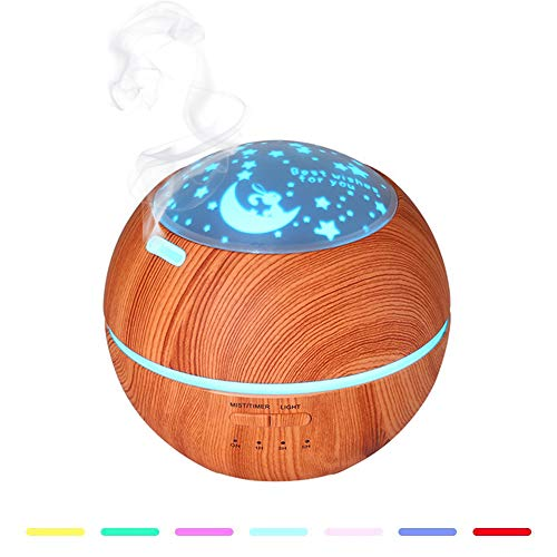 SHENGY Holz-Grain Kids Zimmer Duft Mini Aroma Humidifier, 150ML Waterless Auto Shut-Off und 7 Color LED Lights Wechsel für Home Office Baby,A (Kids Color Zen)