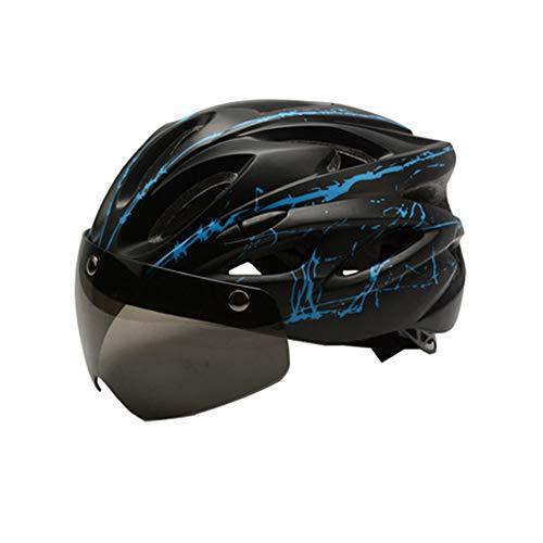 LXFDS Fahrradhelm, Helm mit Brille, Helm für Männer und Frauen, Mountainbike-Helm, Fahrradhelm, Helm, Sommer Elektrohelm, Motorradhelm,-black3