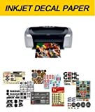 WATERSLIDE DECAL PAPER, CARTA PER DECALCOMANIA, STAMPA INKJET, BASE CLEAR, 6 FOGLI A4 NON NECESSITA DI COVER-COAT