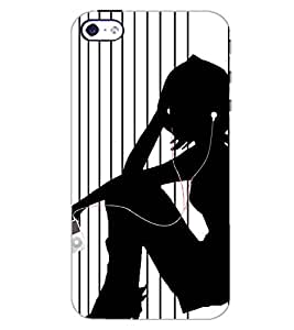 PrintDhaba MUSIC LOVER D-6650 Back Case Cover for APPLE IPHONE 4S (Multi-Coloured)