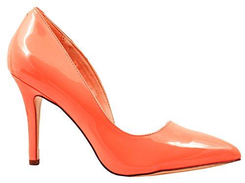 Elara Spitze Damen Pumps | Bequeme Lack Stilettos | Elegante High Heels | chunkyrayan G70027-Coral-41
