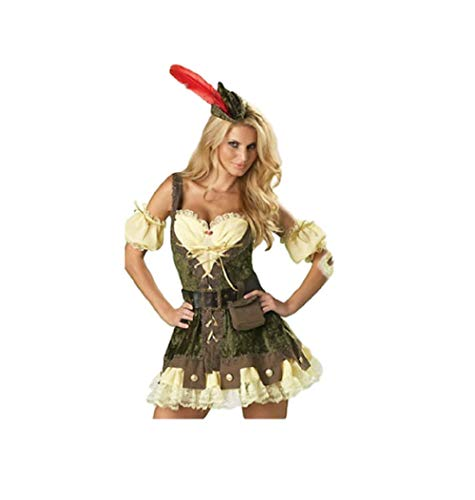 Outlaw Kostüm - Top Totty Super Sexy Damen Robin Hood Outlaw Halloween Cosplay Kostüm Gr. 34/36 DE (M), Mehrfarbig