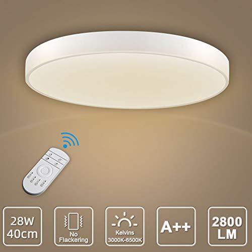 LED Deckenleuchte, LED Deckenlampe, Kaltweiß Warmweiß Rund Modern Led Deckenleuchten Schlafzimmer Küche Wohnzimmer Lampe für Balkon Flur Küche Wohnzimmer IP20[Energieklasse A+] (Dimmbar, 28W(40cm))