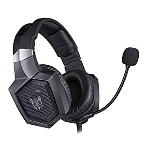 Healifty Gaming Headset verdrahtete Stereo-Kopfhörer mit LED-Leuchten Noise-Cancelling-Mikrofon für Laptop-Tablet-Handys (schwarz)