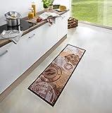 Waschbarer Küchenläufer Coffee Stamp Braun 50x150 cm | 102451