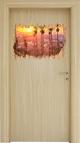 Hollywood Hills Pinsel Effekt Holzdurchbruch im 3D-Look , Wand- oder Türaufkleber Format: 62x42cm, Wandsticker, Wandtattoo, Wanddekoration