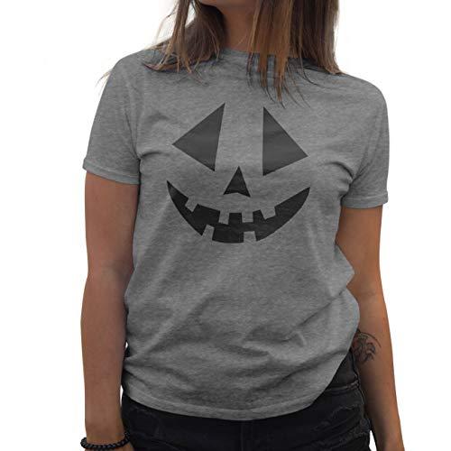 Lapi Boutique Pumpkins Face Helloween Camiseta de Mujer Gris Size...