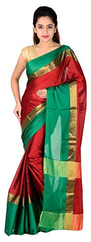 The Design Hub Women's Cotton Silk Saree (Navy Blue & Pink) (Red...