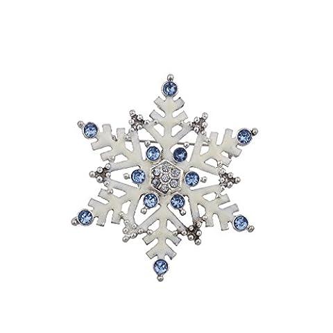 Lux Accessoires de vacances de Noël en émail Blanc Grand flocon de neige Broche