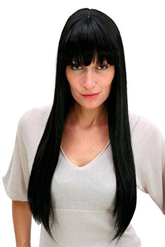 WIG ME UP ® - 3113-1B Perücke, schwarz, lang, Pony ca.65 cm (Schwarze Haare Mit Pony)