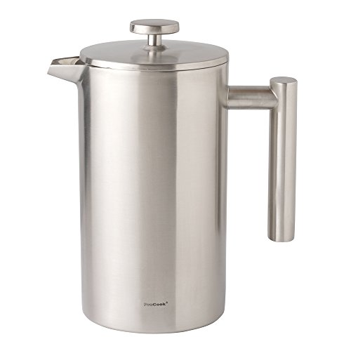 ProCook doppelwandiger Kaffeebereiter – 3 Tassen – 350 ml – aus satiniertem Edelstahl
